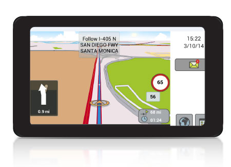GPS navigation and two-way messaging in Fleet Director in-cab display.